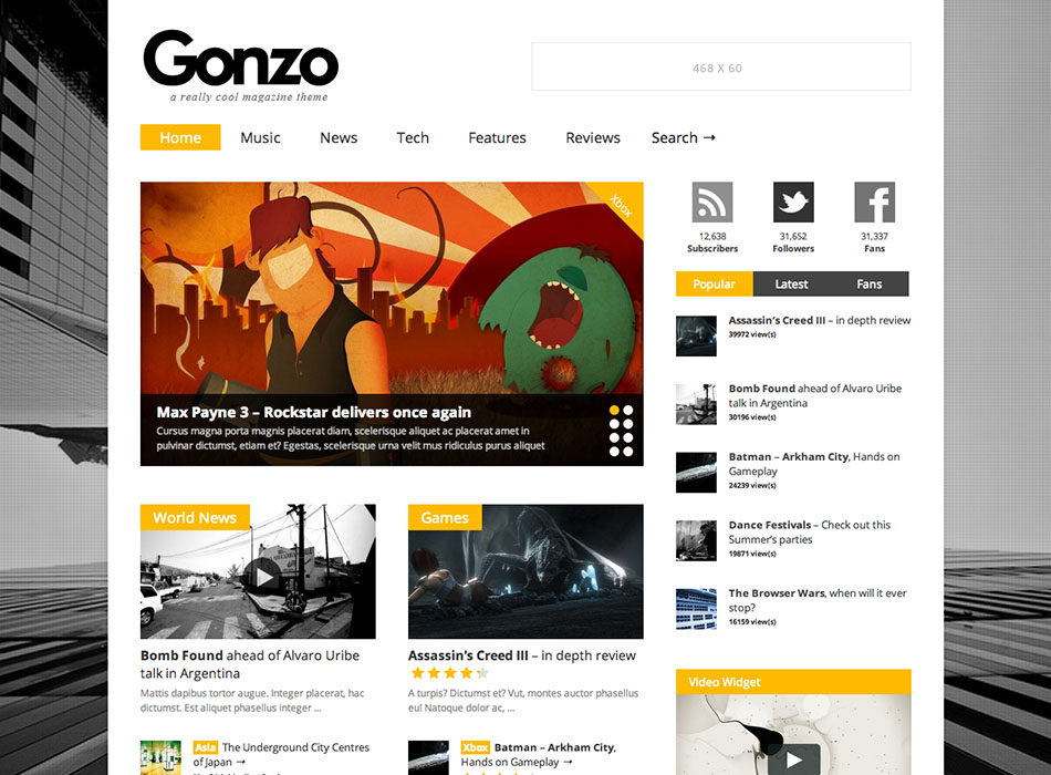Gonzo – Best Selling WordPress Themes