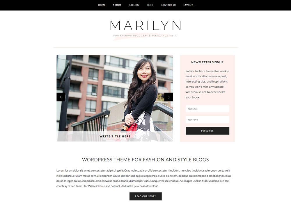 Best WordPress Fashion Blog Themes - Marilyn