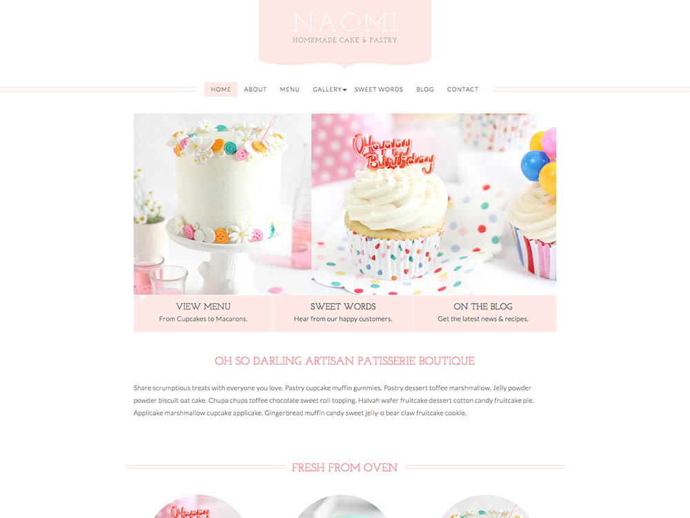Naomi - Best WordPress Cake Shop and Bakery Themes