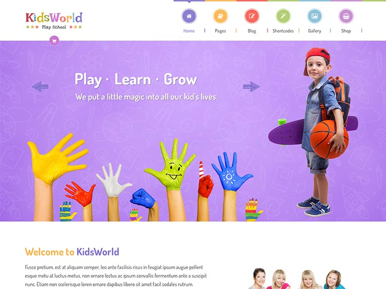 A sleek and colorful play school and preschool theme for WordPress