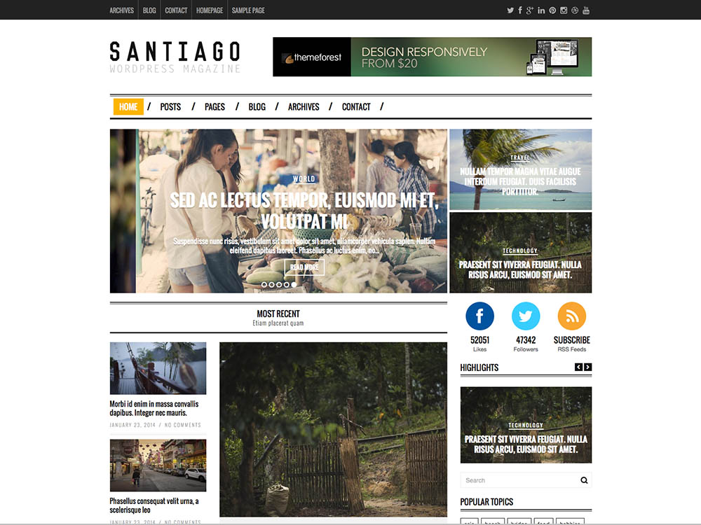 Santiago - Best WordPress Magazine Themes