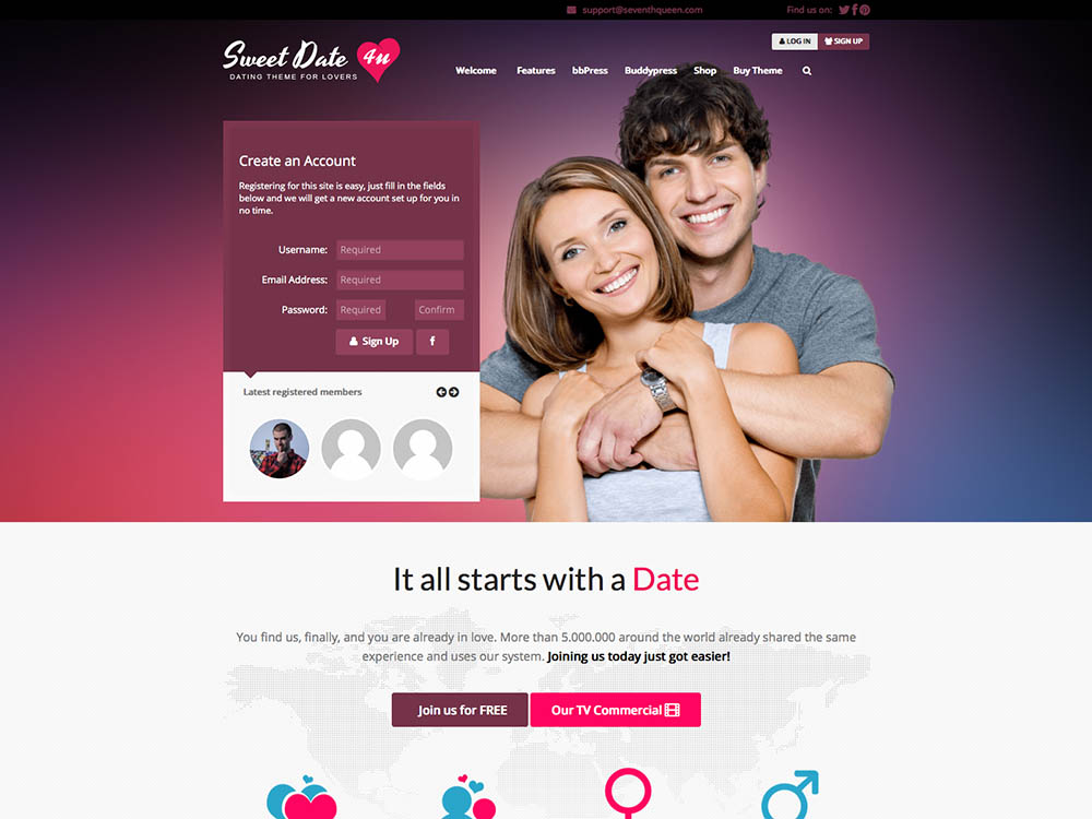 Love story - dating wordpress theme download