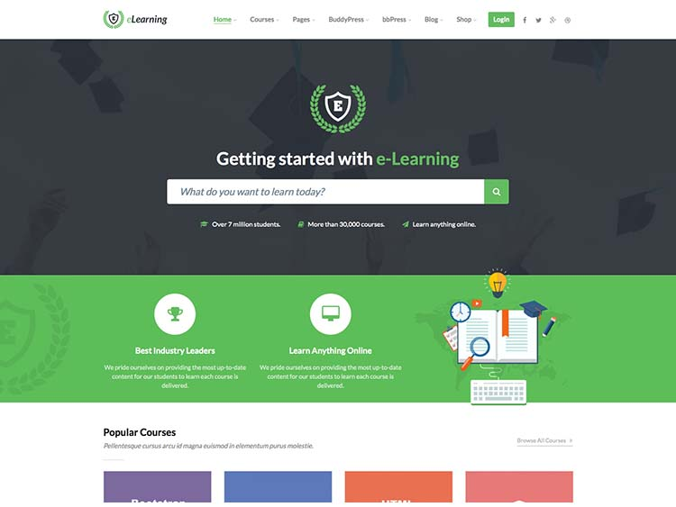 One of the best learning management system themes for WordPress