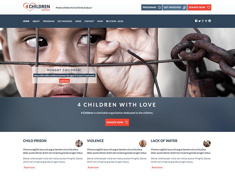 4ChildrenWithLove - Best WordPress Charity Themes for 2014