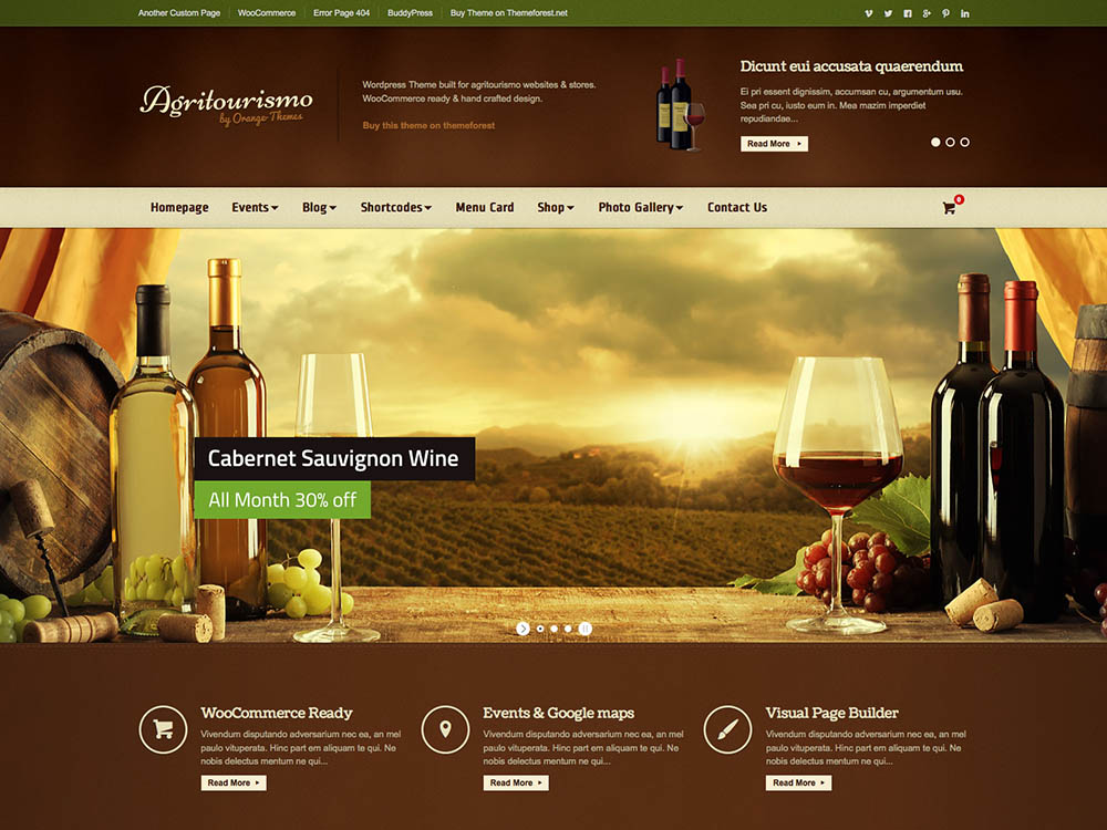 Agritourismo - Best WordPress Wine Themes