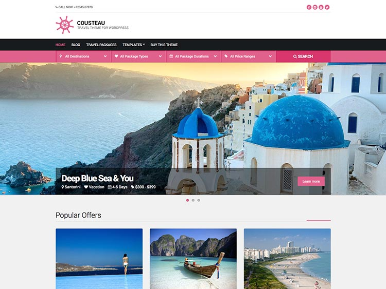 Cousteau - Best WordPress Travel Agency Themes