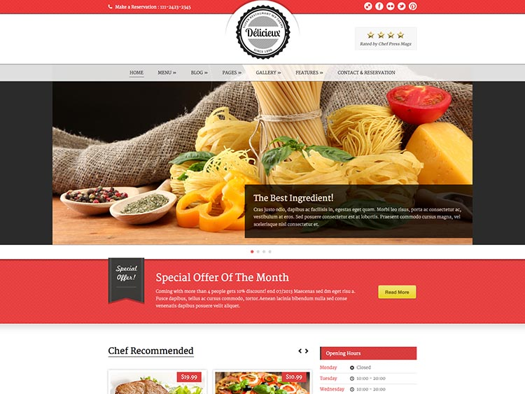 Delicieux - Best WordPress Restaurant Themes