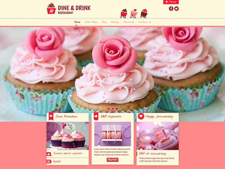 Dine_&_Drink - Best WordPress Cake Shop and Bakery Themes