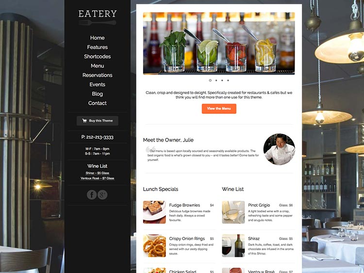 Eatery - Best WordPress Restaurant Themes
