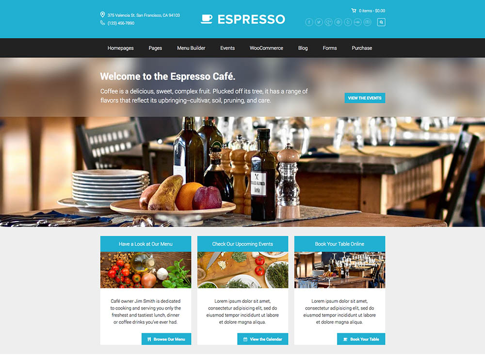 Espresso - Best WordPress Coffee Shop Themes