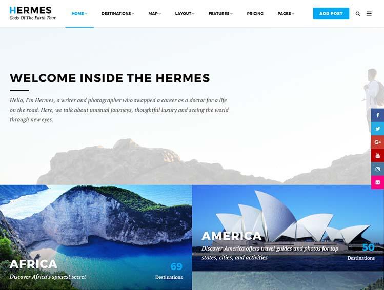 Hermes WordPress Travel Blog theme