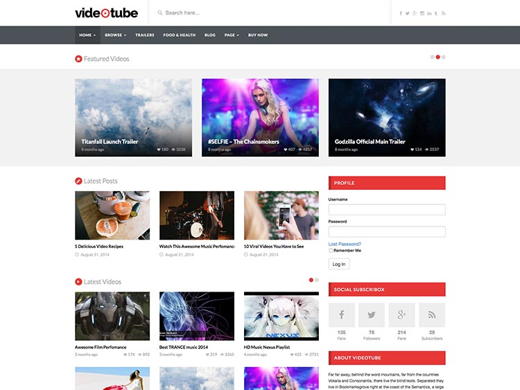 VideoTube - YouTube Style Video Theme for WordPress