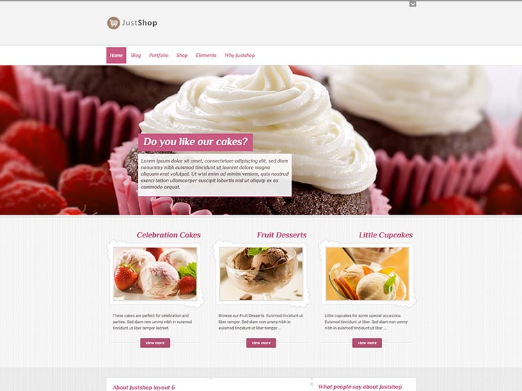 Justshop - Best WordPress Cake Shop and Bakery Themes