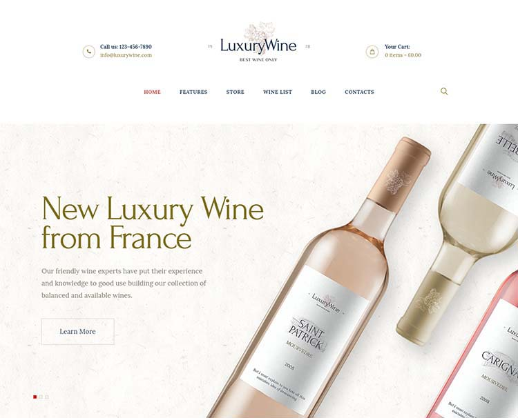 Luxury winery and wine shop theme