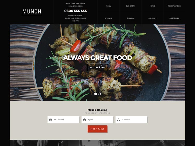 Munch - Best WordPress Restaurant Themes