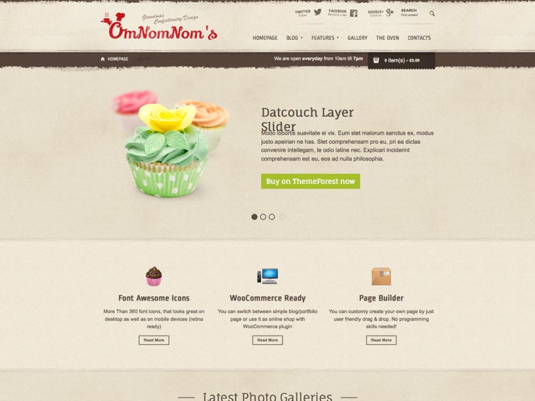 Omnomnom - Best WordPress Cake Shop and Bakery Themes
