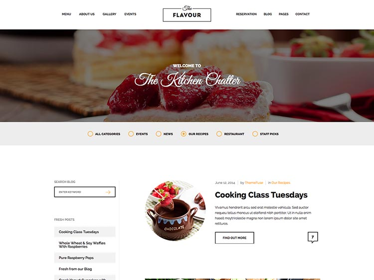 The Flavour - Best WordPress Restaurant Themes