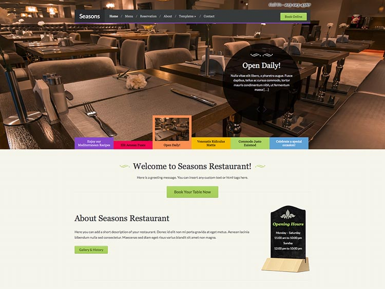 Season - Best WordPress Restaurant Themes