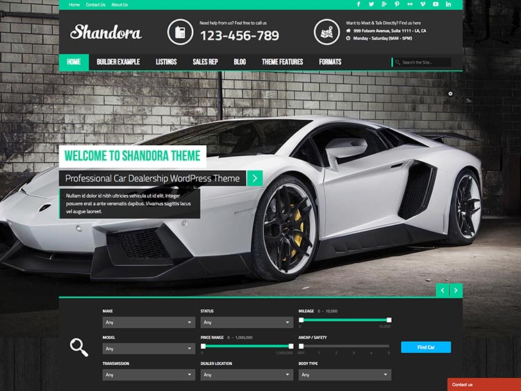 Shandora - Best WordPress Car Dealer Themes