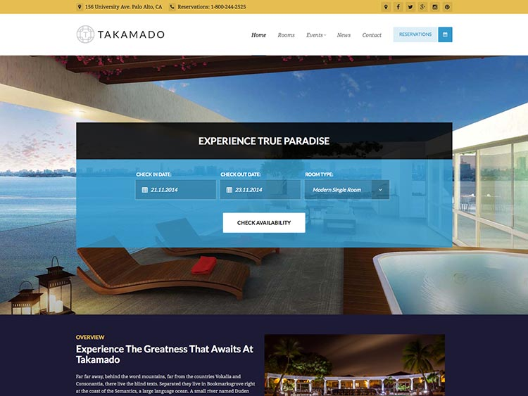 Takamodo - Best WordPress Hotel Themes