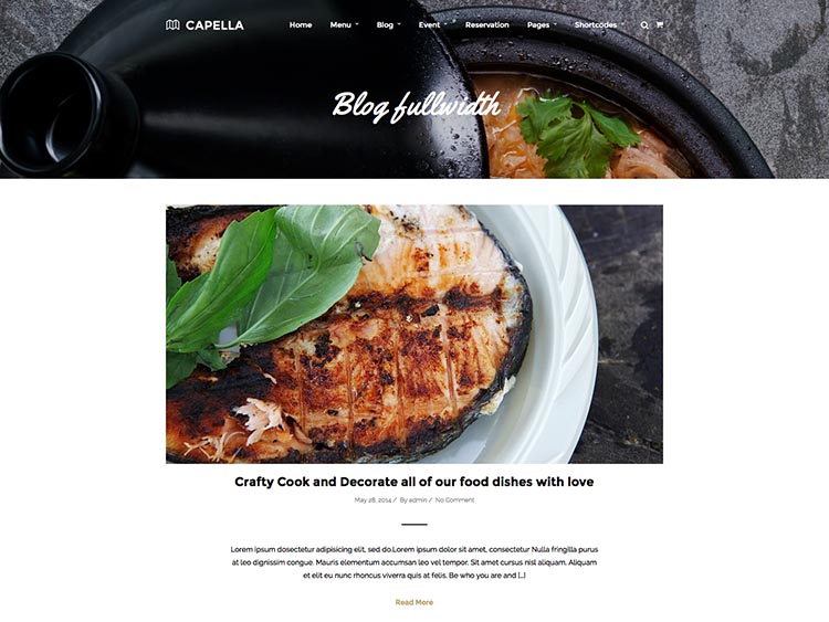 Capella - Best WordPress Restaurant Themes