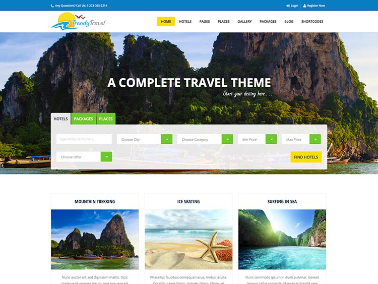 Trendy Travel - Best WordPress Travel Agency Themes