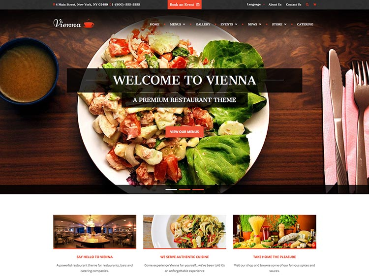 Vienna - Best WordPress Restaurant Themes
