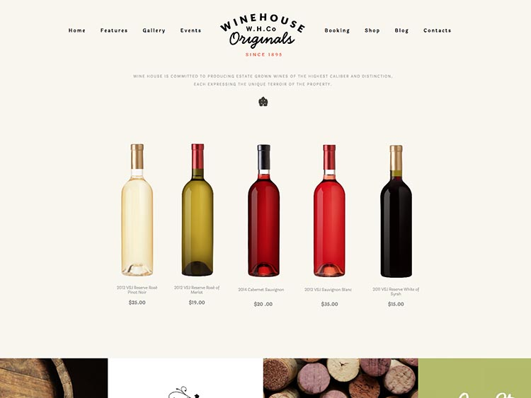 Responsive wine and vineyard theme for WordPress