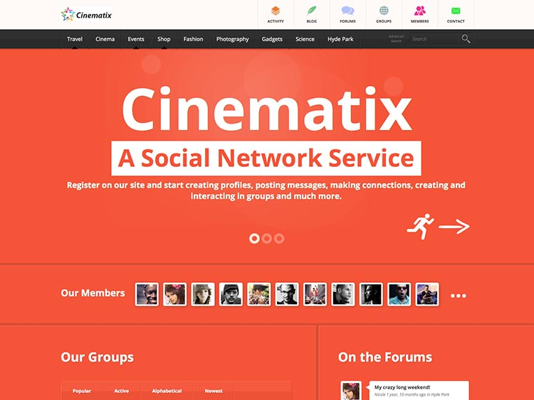 Cinematix Social Networking Theme for WordPress