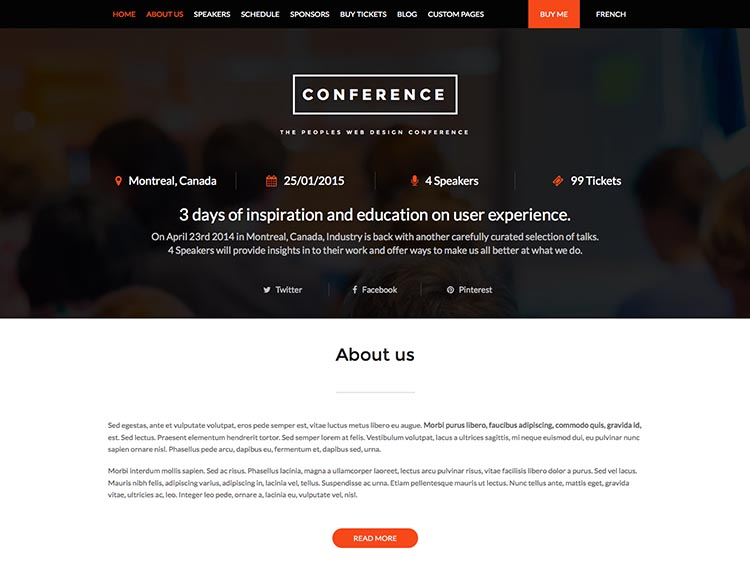 One of the best event themes for WordPress