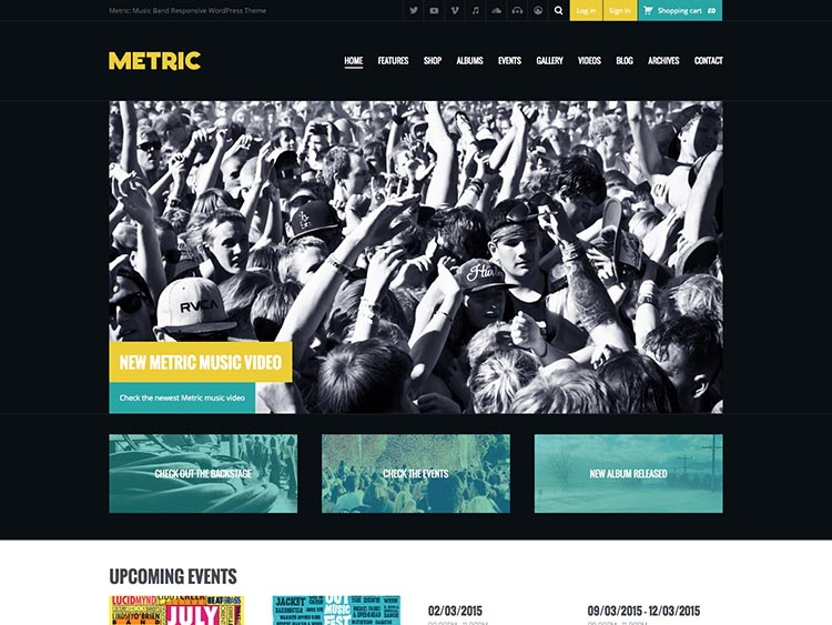 Metric WordPress Theme for Bands