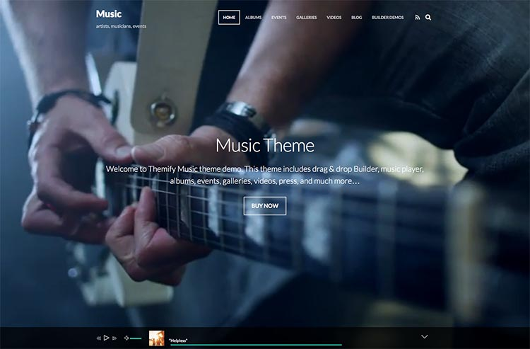 Best music oriented WordPress theme for building musicians and band websites
