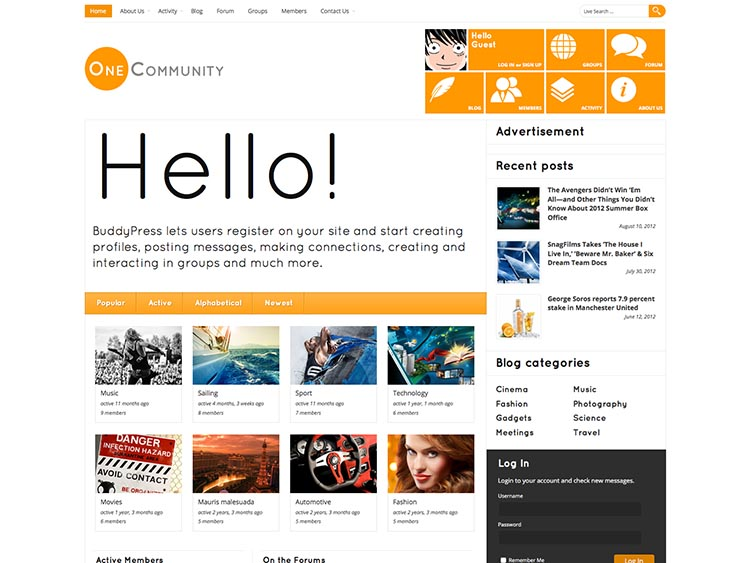 OneCommunity WordPress BuddyPress Theme