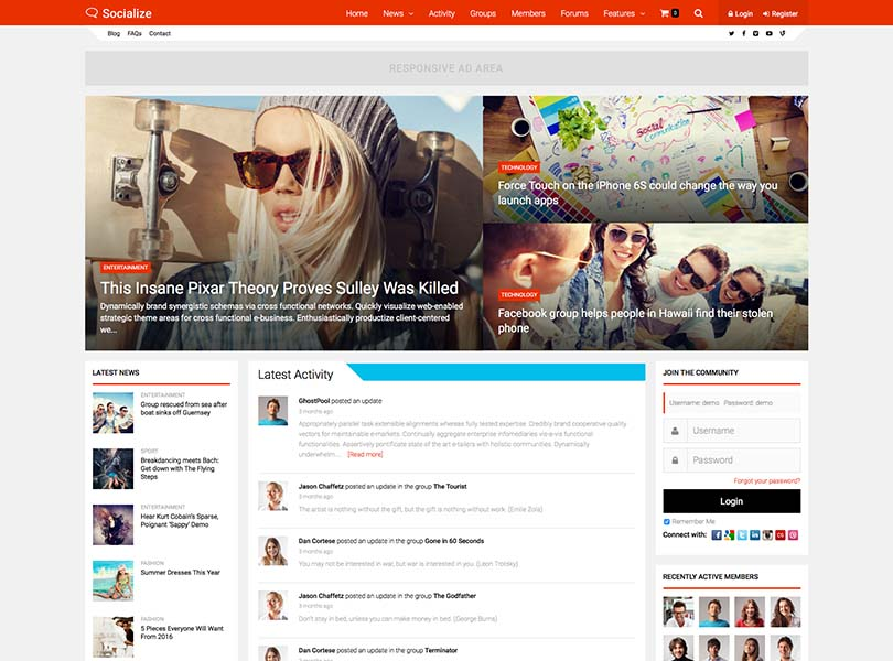 15+ Best WordPress Social Network Themes for 2018 - Siteturner
