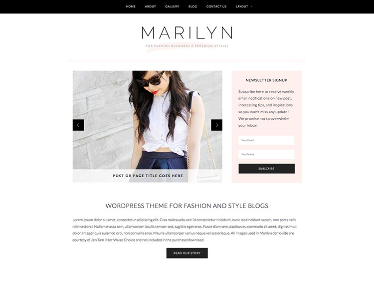 Marilyn Feminine WordPress Theme for Women
