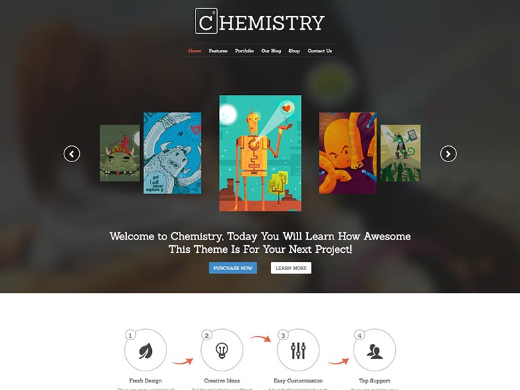 Best WordPress Themes for Artists - Chemistry