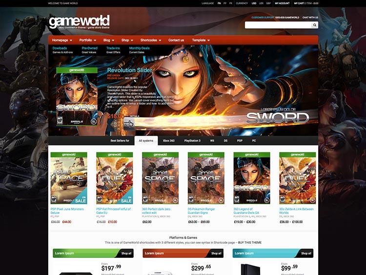 GameWorld WooCommerce Video Game Store Theme