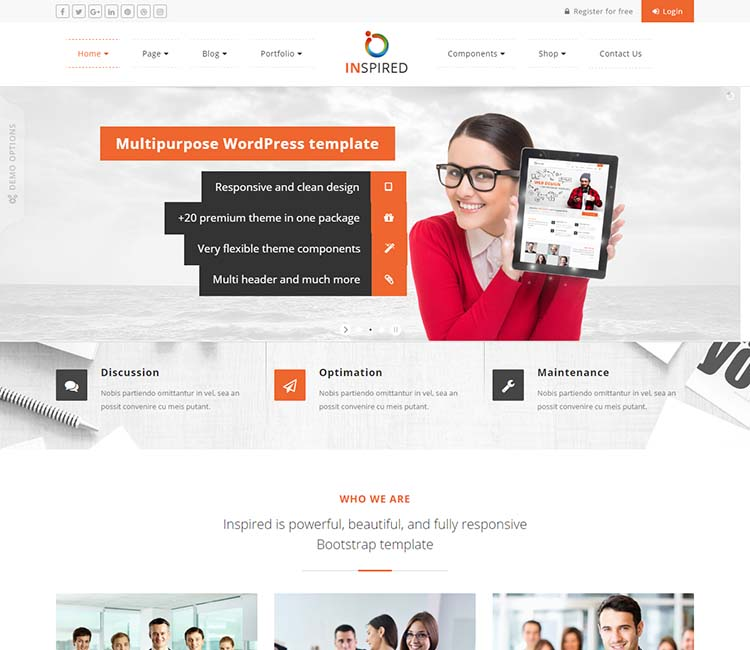 18 best responsive wordpress business themes built with bootstrap 3 another excellent twitter bootstrap based business theme wajeb Choice Image