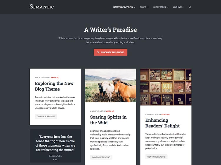 Semantic Theme for WordPress Writers