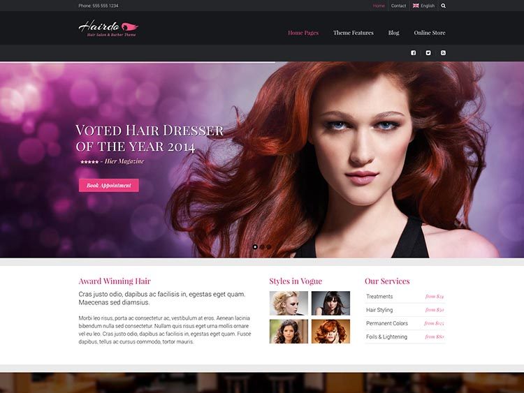 Hairdo Hair Salon Theme for WordPress
