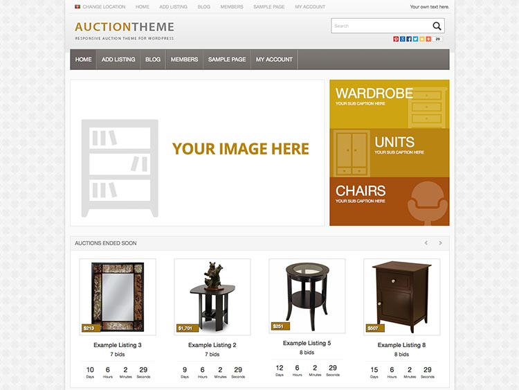 One of the most popular eBay-Style Auction themes for WordPress
