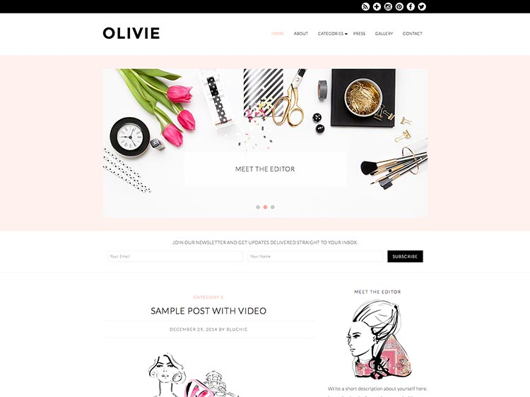 Olivie WordPress Fashion Blog Theme