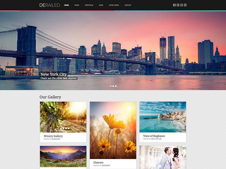 DeRailed Moible & Retina-ready WordPress Photography Theme