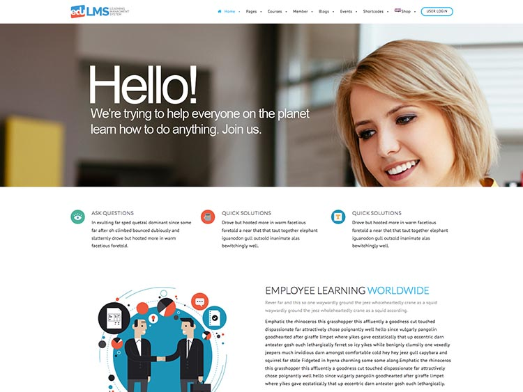 EduLMS Aprendizaje Gestión WordPress Tema