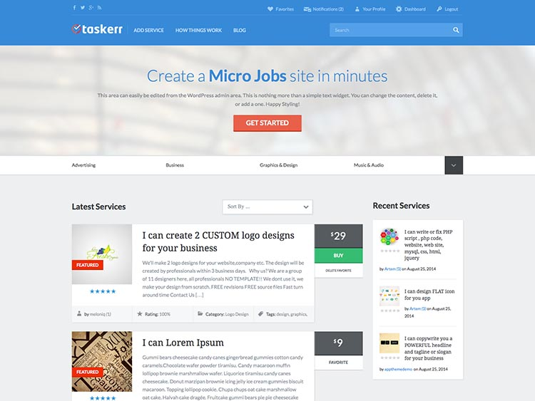 Taskerr WordPress Freelance Marketplace Theme