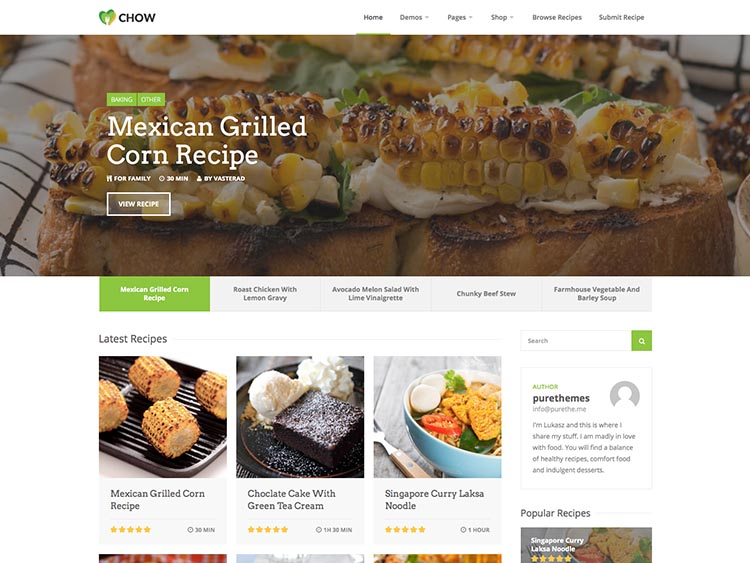 Chow WordPress Recipe Theme