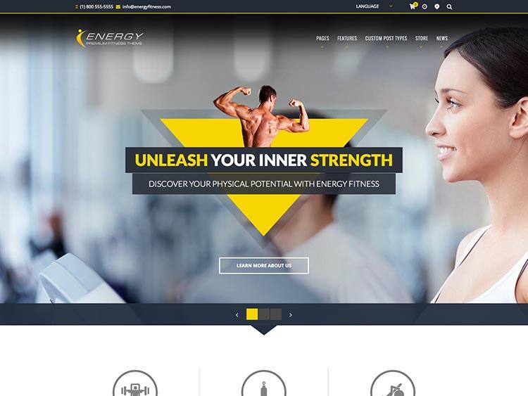 Energy Gym & Fitness Theme for WordPress
