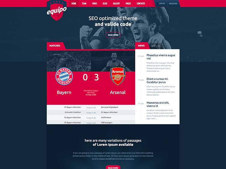 Equipo WordPress Sports Theme