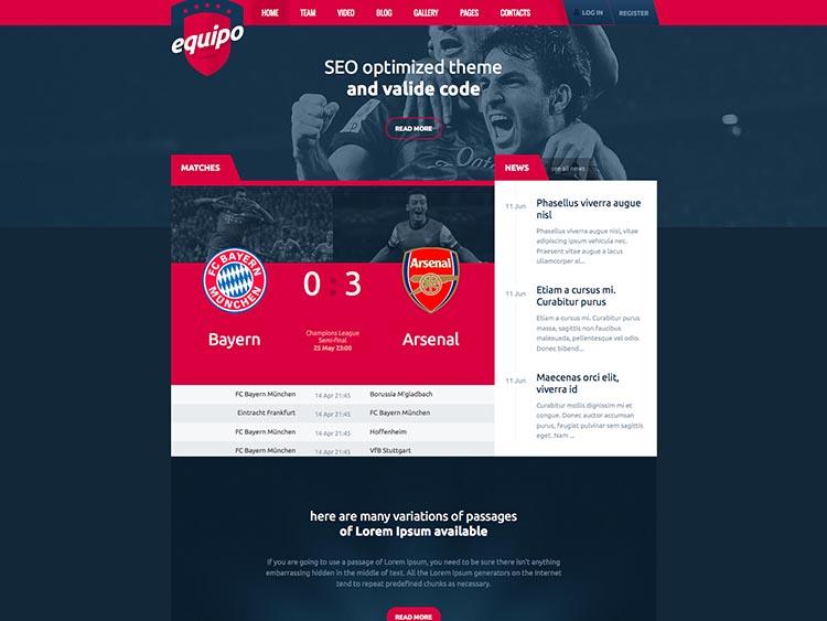 Equipo WordPress Sports Theme