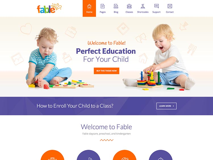 Fable WordPress Theme for Daycares